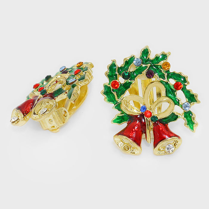 Holly Wreath and Bells Christmas Clip-On Earrings