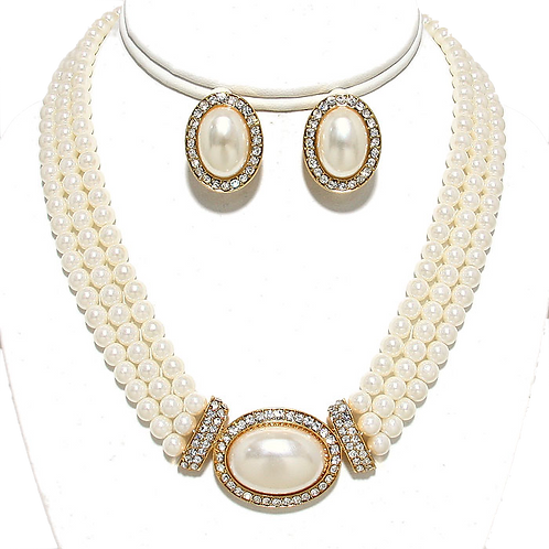 Pearl Cabochon Charm Clip Earring Necklace Set
