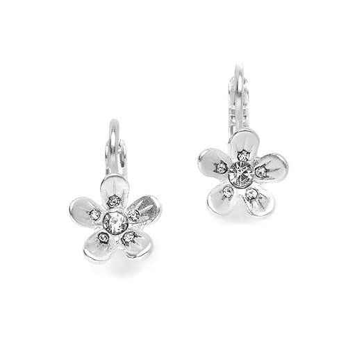 Matt silver flower lever back earrings