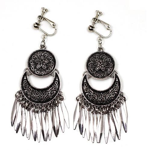 Boho Ethnic Dark Silver Drop Earrings