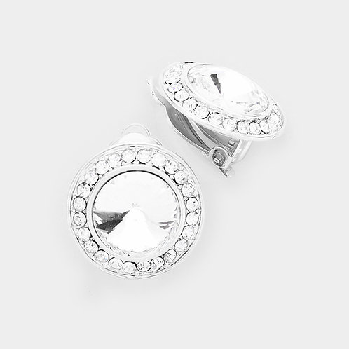 Pave Framed Silver Clear Button Clip On Earrings