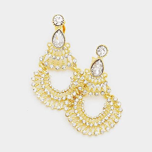 Boho Gold Clip-on Chandelier Earrings