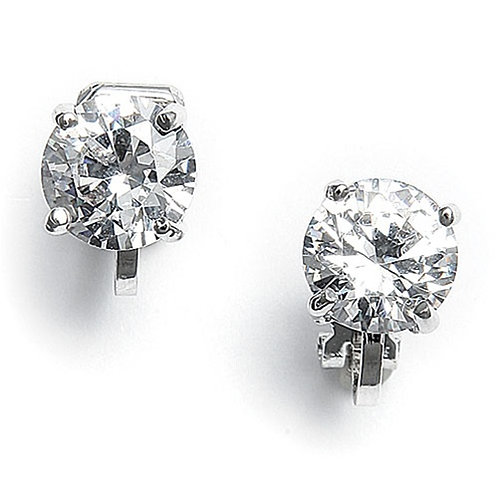 CZ solitaire silver clip-on earrings
