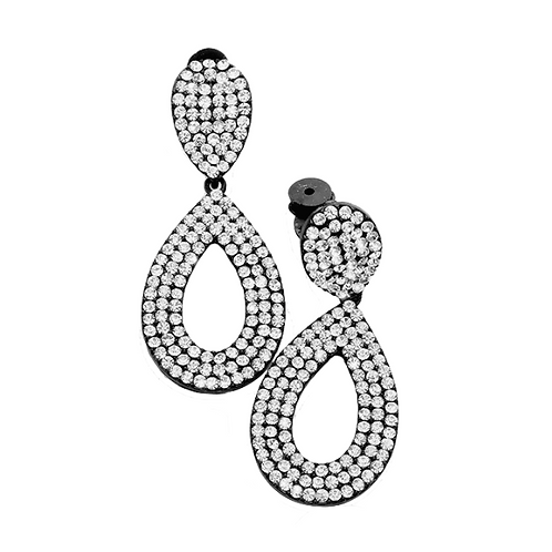 Black pear drop clip earrings with clear crystals
