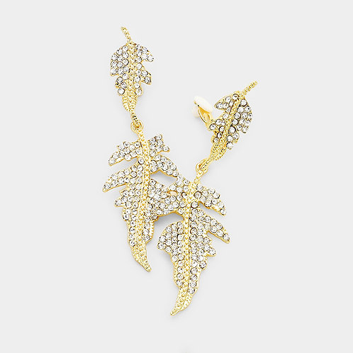 Rhinestone Studded Abstract Leaf Clip Earrings, Gold