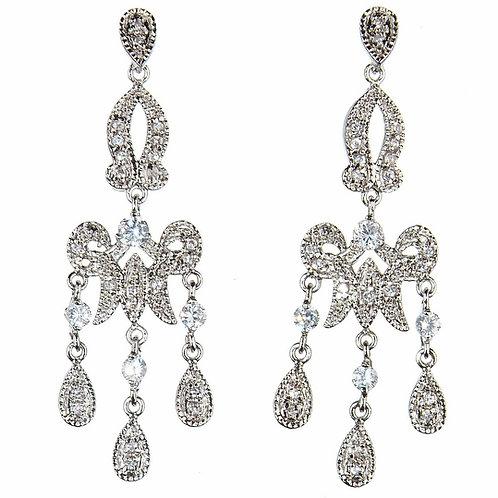 Silver princess chandelier earrings by Prive Bridal