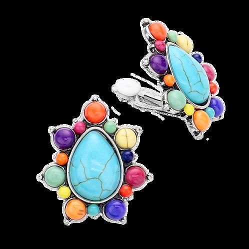 Retro Opaque Rainbow Pear Clip Earrings