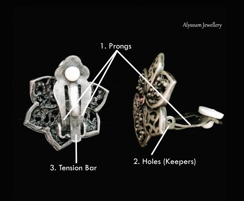 Parts of a paddle back clip-on earring