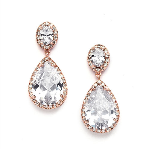 Rose gold crystal pear drop earrings for special occasions