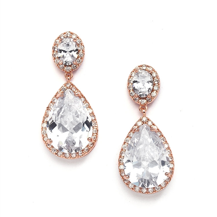 dd7f2e5e8917b Cubic Zirconia Pear Drop Earrings ~ Rose Gold