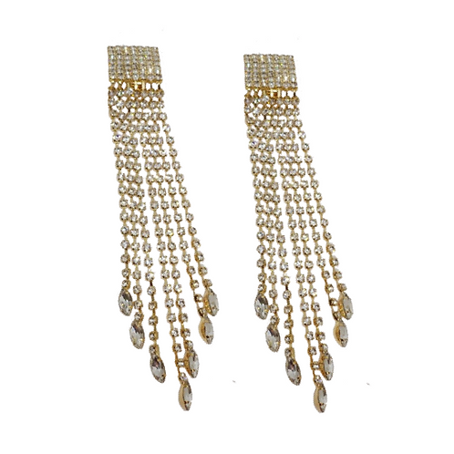 Raindrop Rhinestone Clip-On Fringe Earrings, Gold