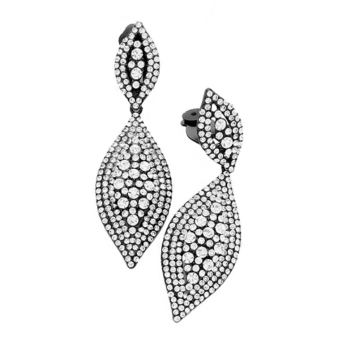 Black Leaf Drop Clip Earrings with Clear Crystals