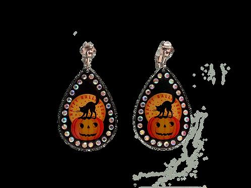 Happy Halloween Black Cat and Pumpkin Clip Earrings