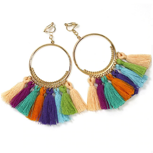 Rainbow Tasseled Hoop Clip Earrings