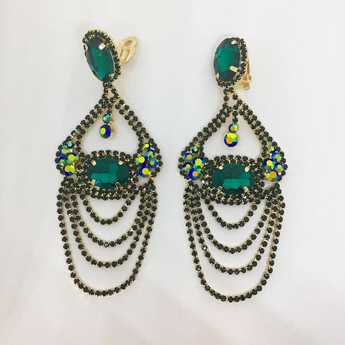 Elaborate Emerald AB Rhinestone Chandelier Clip Earrings