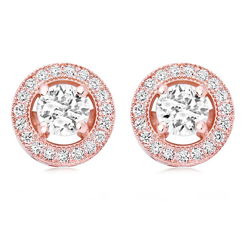 Dainty rose gold clip on bridal earrings