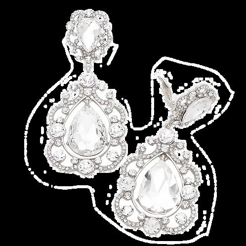 Elaborately Framed Pear Drop Clip Earrings, Silver Clear