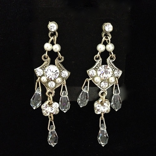 Crystal and pewter chandelier earrings by Janette-Maree
