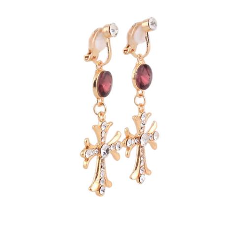 Garnet and Clear Crystal Cross Clip Earrings