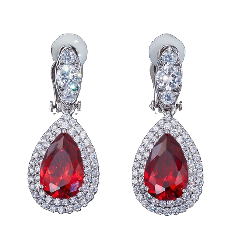 Double Pave Framed CZ Pear Drops, Red