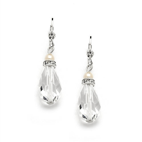 Clear crystal and ivory pearl lever back wedding earrings