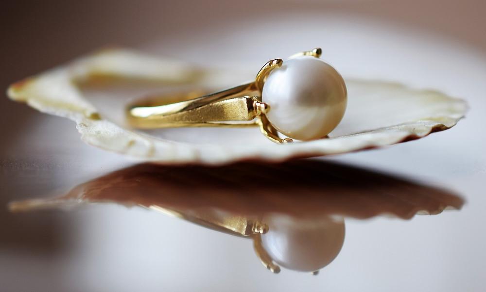 June Birthstone Pearl Ring