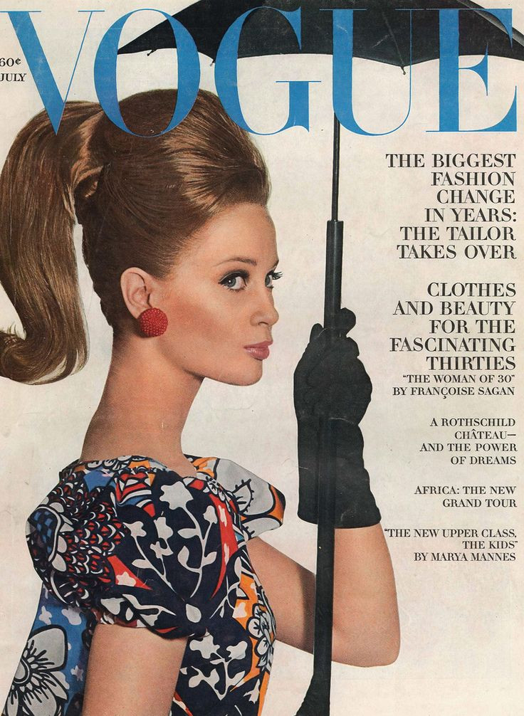 Vogue Magazine Cover of Model in Big Red Button Earrings