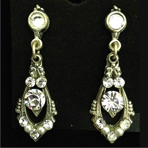 Pewter and crystal drop earrings by Janette-Maree