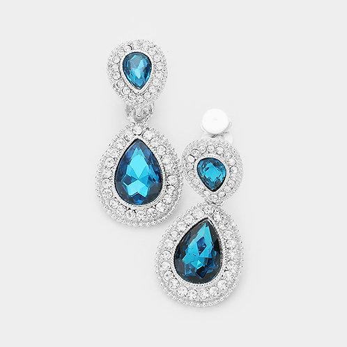Dainty Pear Drop Clip Earrings, Teal  Blue