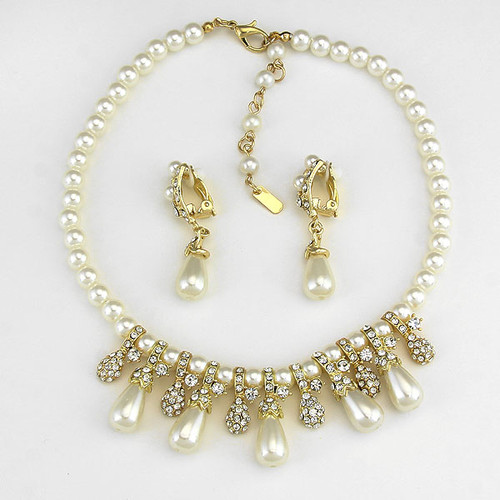 Back Of Faux Pearl Rhinestone Clip Earring Necklace Set