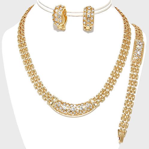 Gold tone necklace, bracelet and clip on earring set