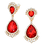 Thumbnail: Glamorous Red Crystal Drop Clip-On Earrings