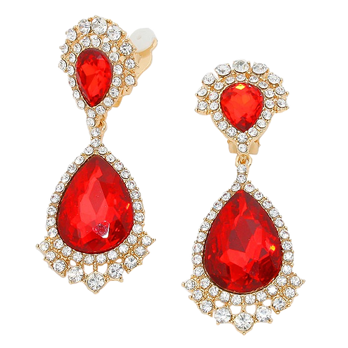 Glamorous Red Crystal Drop Clip-On Earrings