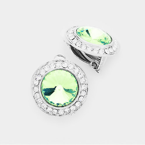 Pave Framed Peridot Green Button Clip On Earrings