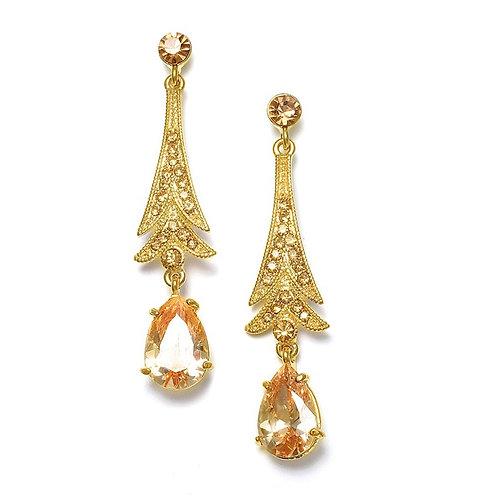 Golden topaz art deco crystal earrings