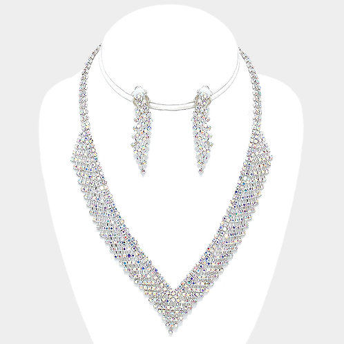 Rhinestone evening necklace set with clip on earrings