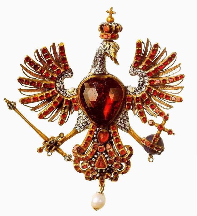 Decorative Bird Jewellery Piece with Hessonite Gemstones