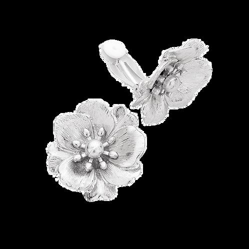 Silver Tone Flower Bloom Clip On Earrings