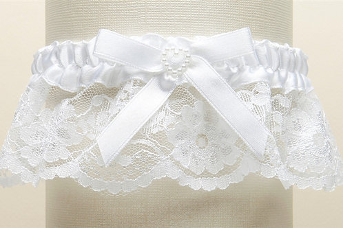 White Lace Bridal Garter with Pearl Heart