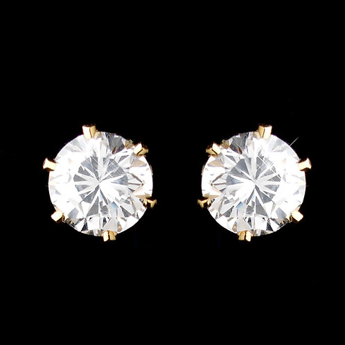 5mm gold CZ clip on studs