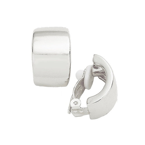 Simple Curved Bar Silver Clip On Earrings