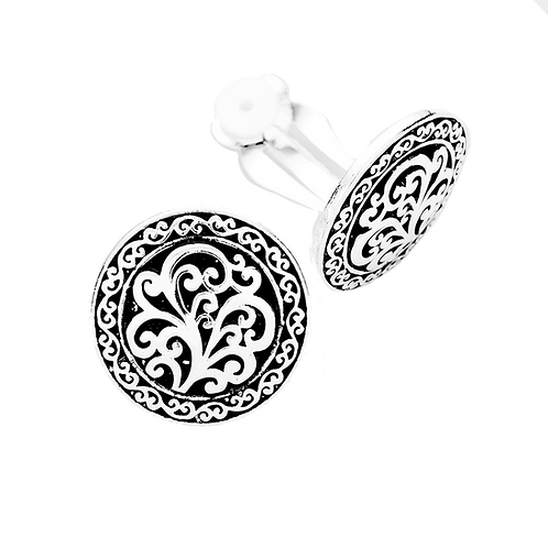 Antiqued Silver Patterned Button Clip On Earrings