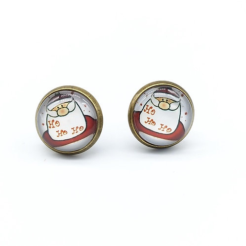 Laughing Santa Clip On Button Earrings