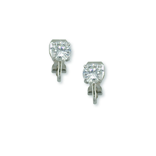 6mm Cubic Zirconia Clip On Studs, Silver