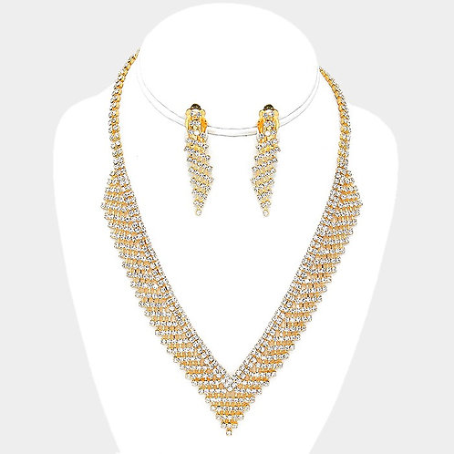 Gold rhinestone necklace set with clip on earrings for non-pierced ears