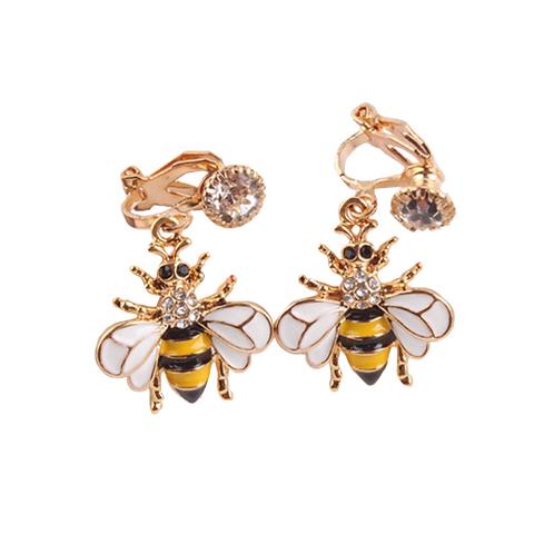 Crystal Enhanced Bee Clip Earrings