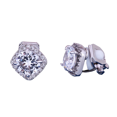 Dainty Square Crystal Gem Clip On Earrings
