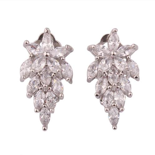 Marquis Crystal Spray Clip Earrings