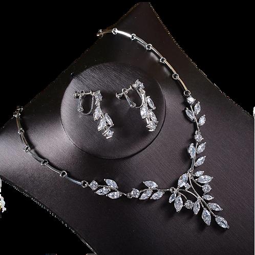 CZ Vine Clip-On Earring Necklace Set