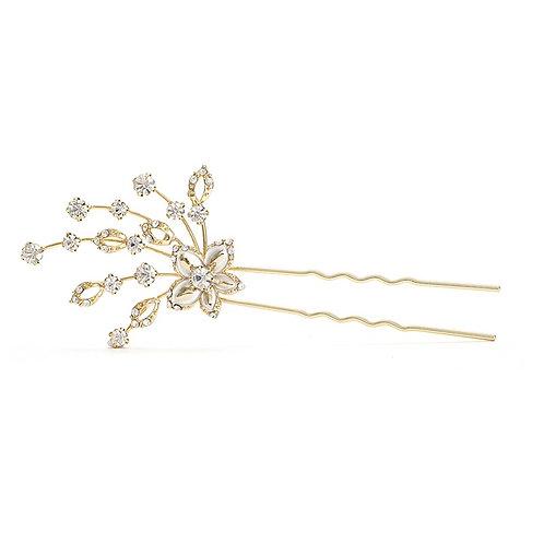 Golden crystal spray bridal hair stick pin